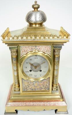 Architectural French Bronze Ormolu Mantel Clock C1870 8 Day Bell Striking Clock
