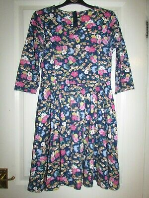 girls gorgeous blue floral patterned junior madlyn dress by Joules age 11-12yrs