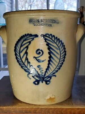 "Stunning Antique Primitive Salt Glazed Stoneware ""John Burger Wreath"" Crock"
