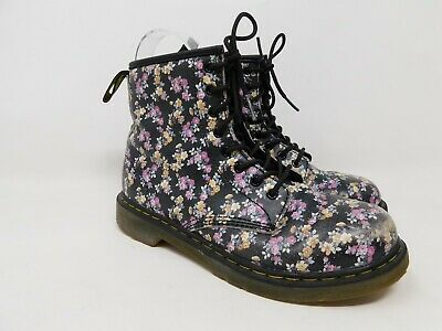 Dr. Martens Floral Combat Boots Size 3 Girls Lace Up Zippers Big Kids Youth