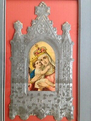 Antique Maddona And Child In A Dresden Like Frame