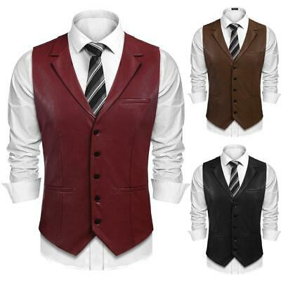 Men Fashion Turn Down Collar Sleeveless Solid Leather Single Breasted GDY7
