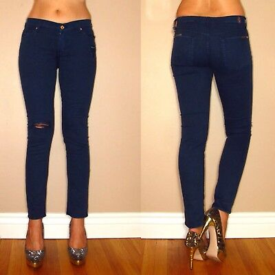 Seven 7 For All Mankind Slim Sigaretta Skinny Destroyed Jeans Scuro 26-31