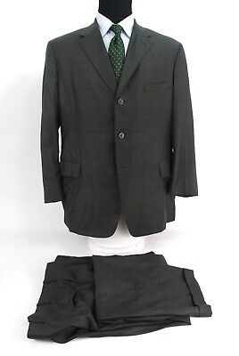 Tom James Royal Classic 3Btn Suit Green Blue Check Wool Center Vent 43R