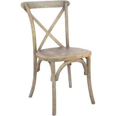 Bistro Style Cross Back Natural White Grain Wood Stack Restaurant Dining Chair