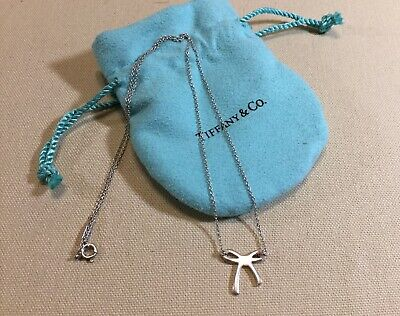 "TIFFANY & CO  Bow Tie 925 Sterling Silver Pendant Necklace 8"" DROP EUC"