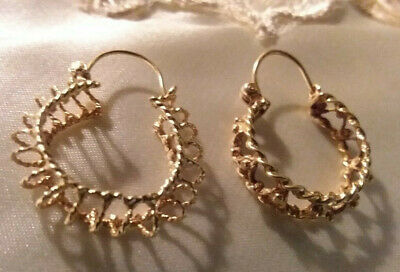 14 Karat Gold Hoop Earrings Solid Gold Jewel 3.1 Grams Old Gold Solid Gold