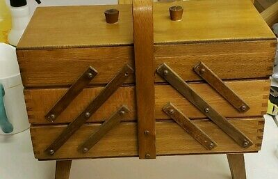 Vintage Wooden Accordion Sewing Box W/Carrying Handle Expands Out Both Sides