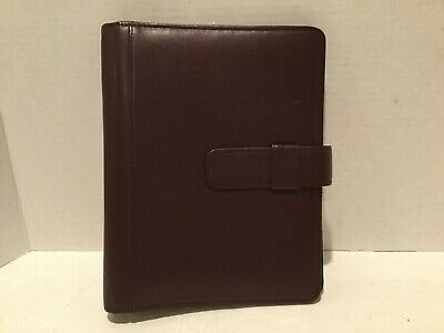 Vintage Day Timer Brown Leather Planner Organizer with 7 Ring Binder