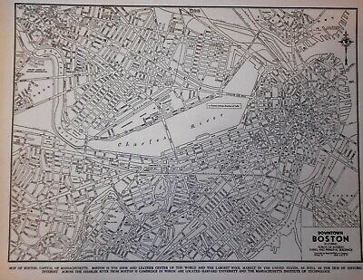 Vintage World War WWII 1939 World Atlas City Map Boston, MA Cambridge Mass L@@K!