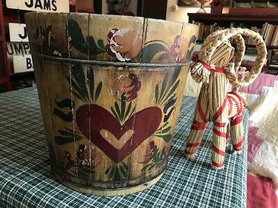 Antique WOODEN  Stave BUCKET HAND PAINTED Signed FOLK ART Dutch HEARTS AAFA