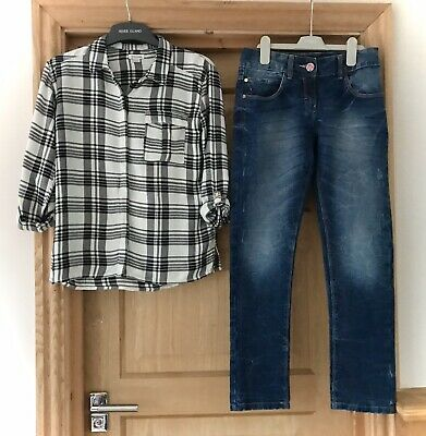 River Island * Girls Casual Checked Shirt & Jeans  12 Years