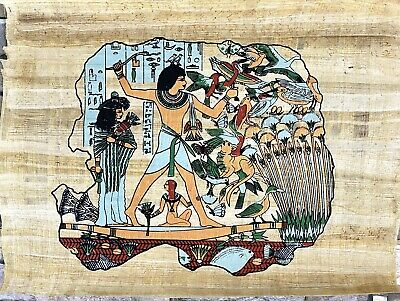 """100% Authentic Egyptian Papyrus  HandMade Painting size 16""""X 12"""" Judgement Day"""