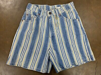 Levis 920 Orange Tab Vtg Shorts Womens 6 Striped Denim 70s 80s USA Made
