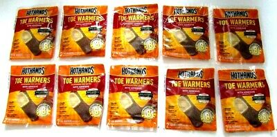 NEW LOT 10 Ten Pairs HotHands Toe Warmers with Adhesive  Up To 8 Hours of Heat