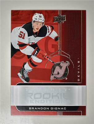 2019-20 UD Trilogy Rookie Renditions #RR-19 Brandon Gignac - New Jersey Devils