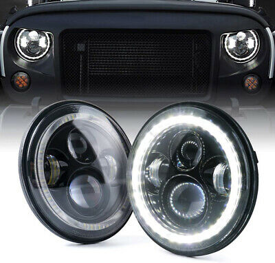 "Pair 7"" inch CREE Round LED Headlights Jeep Wrangler TJ JK 97-17 Halo Angel Eyes"