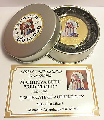 """NEW Indian Chief Series """"RED CLOUD"""" 1 Oz Coin C.O.A. Finished in 999 24k Gold"""