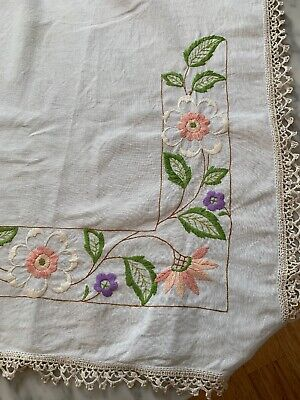 Vintage Embroidered Linen Tablecloth