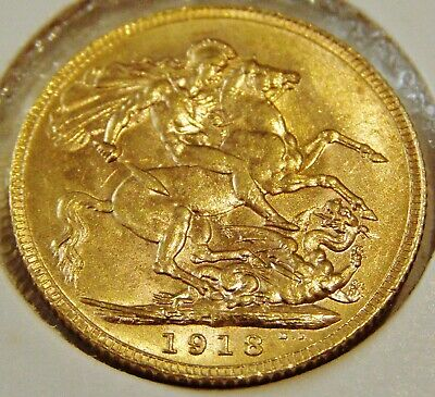 "End WWII Australia 1918 ""P"" Perth Mintmarket Gold 22ct FULL SOVEREIGN Coin"