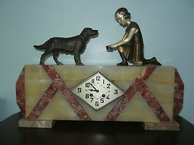 French Art Deco Onyx & Marble Mantle Shelf Clock with Girl & Dog Figures