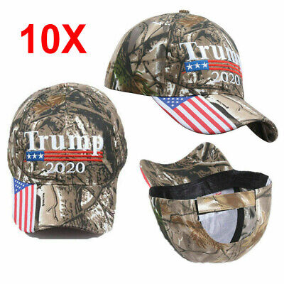 10Pcs Trump 2020 Camo Embroidered Hat Keep Make America Great Baseball Cap sm