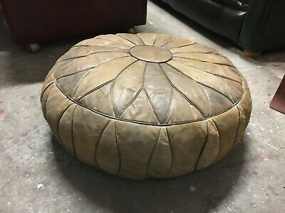 Lovely Nicely Aged Vintage Leather Pouffe Beautiful Soft Faded Antique Leather