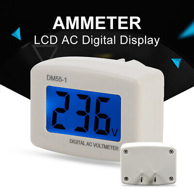 DM55-1 Digital LCD Voltage Test 80-300V AC Monitor US S9D6 Meter Volt In Plug US