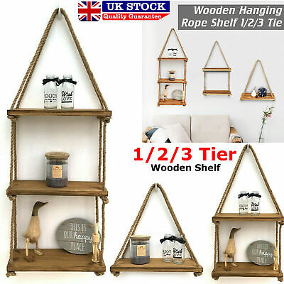 Rustic Wooden Hanging Rope Shelf - Handmade Solid Natural Wood Floating Shelves