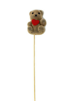 Pack of 10-Teddy Bear with Red Heart on Wooden Stick x 57cm - Valentine Florist