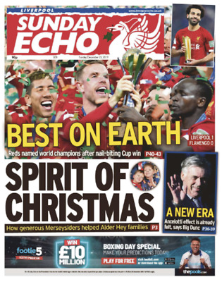Liverpool FC Champions Of The World – Liverpool Sunday Echo - 22 December 2019