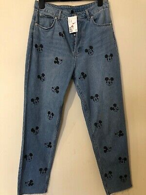 H&M Mickey Mouse Disney Mom Blue Denim Jeans UK 12 M L Distressed