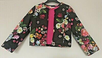Girls Black Floral Ted Baker Jacket Age 6-7 years