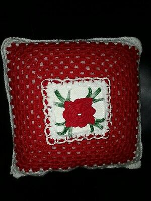 Vintage Red and White Crochet Cushion Cover with Rose 35cm Squared