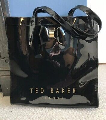 Ted Baker Large PVC shopper Bag In Black With Bow.