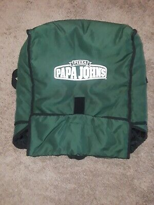 Papa Johns Pizza Insulated Large Green Delivery Hot Bag / Cold Tote - Fits 6