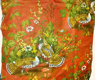 Vintage 1960s BARKCLOTH Fabric Scrap PHEASANTS BIRDS Shrubs FLOWERS