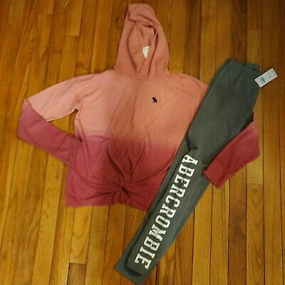 NWT Abercrombie & Fitch Kids Girls Hooded Top/Leggings Size 7 8 13 14
