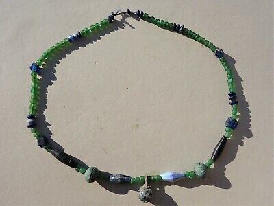 ancient Roman green and blue colour glass bead necklace circa 1st 3rd Century