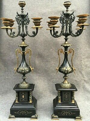 Huge pair of antique french candelabras chandeliers 19th century Empire style