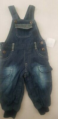 Baby Boys Blue Jean/denim warm winter Dungarees all in one,bnwt,0-3m