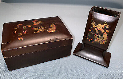Pair of Vintage Black Lacquer Sheng Shao An FooChow China Smoking Boxes
