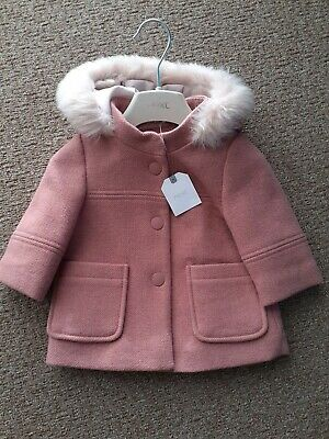Baby Girls 3-6 Months Brand New with tags Pink Coat With Hood From Next Stunning