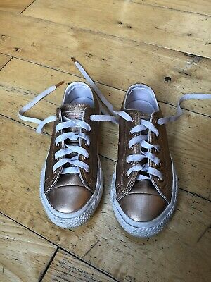 Rose Gold Girls Converse Trainers Size 11 Eur 28.5