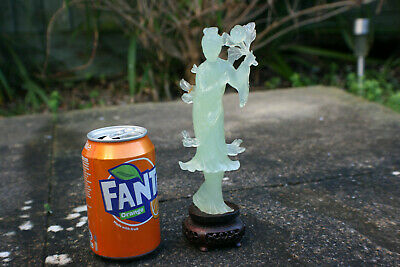 Chinese Jade Stone Hand Carved Lady Woman Figure Statue on Wooden Stand