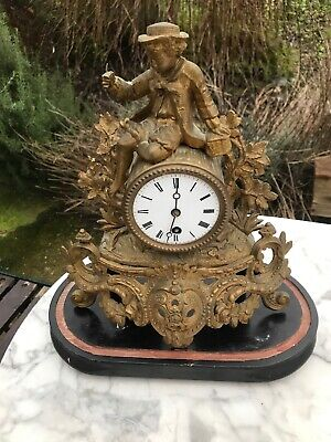 Antique French Gilt Mantle Clock Non Working For Restoration