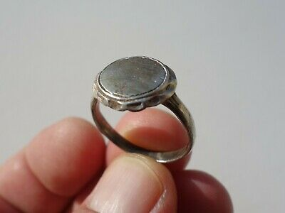 ancient Byzantine / Middle Ages silver ring, nicely  carved on bezel