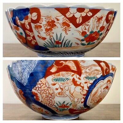 Two Old Japanese Antique Imari Very Large Bowls Hand Painted