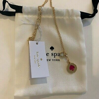 """Kate Spade New york """"Spot the Spade, Suprcoral Red,Gold filled Necklace ,17"""""""
