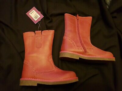 John Lewis Girls Leather Isobel Boots Pink/Berry - Size 26 (8.5) U.k.